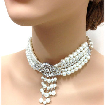Wedding jewelry, bridal choker, bridal necklace, bridal jewelry, crystal jewelry,pearl jewelry, Victorian necklace