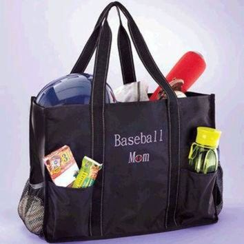 ONETOW Baseball Mom Tote Sports Utility Bag Organizing Games for Child with Merchandise Elast