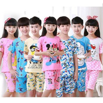 children pajamas set kids baby girl boys cartoon casual clothing costume short sleeve children sleepwear pajamas sets