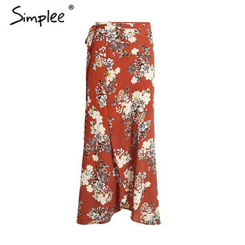 Simplee Vintage split skirts womens 2017 summer beach Elegant chiffon high waist skirt flower boho print maxi long skirt female
