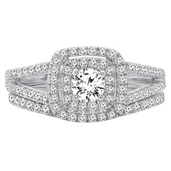 1.00 Carat (ctw) 10K Gold Round Diamond Split Shank Halo Engagement Ring Set