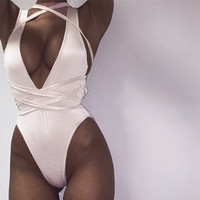 Cross Strap Design V-Neck Monokini