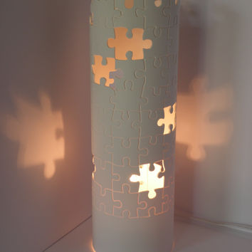 Treasury List. Table lamp. Unfinished Puzzle. Puzzle pieces. Puzzle tower. Father's Day gift. Home. Decor. Handmade. 10% COUPON DISCOUNT.