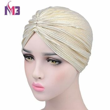 0f043ee5897 Fashion Women Sparkly Turban Wrinkle Twist Turban Hat Bandanas C
