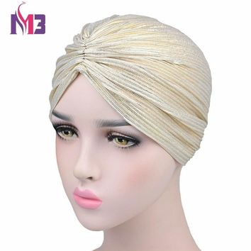 Fashion Women Sparkly Turban Wrinkle Twist Turban Hat Bandanas Chemo Headwear Muslim Turban Headband Hair Accessories Turbante
