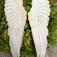 "Wood carved set of angel wings rustic home decor shabby chic angel wings From sizes 6"" up to 35"" Choose size in the drop down menus"