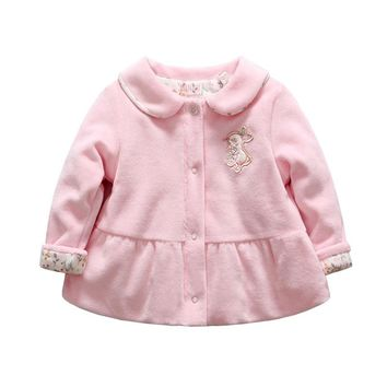 Baby girl winter coat rabbit pattern warn baby goose down clothes floral printed snow wear for age 0 to 12 months