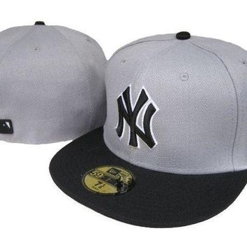 New York Yankees New Era Mlb Authentic Collection 59fifty Caps Grey Black