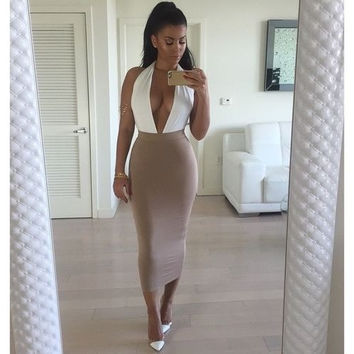 Fashion New 2015 Women Sexy Backless Dress Deep V Neck Bodycon Clubwear Midi Halter Sleeveless Pencil Dress Vestidos