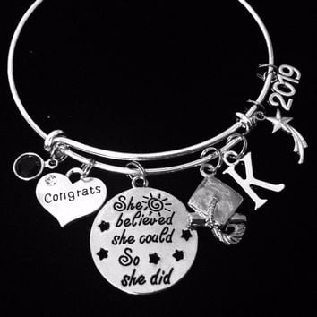 Senior Class Jewelry Personalized Graduation Charm Bracelet She Believed She Could So She Did Expandable Bangle Diploma Graduation Cap Adjustable Bangle Gift