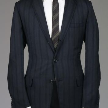 Vintage 1960s Charcoal/Navy Stripe Sportcoat 42 L Monkey Suit