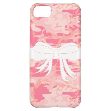 Pink Camo Bow Wrapped Iphone Case iPhone 5C Cases