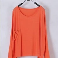 *Free Shipping* Ladies Orange Cotton T-Shirt Top One Size T012o from efoxcity