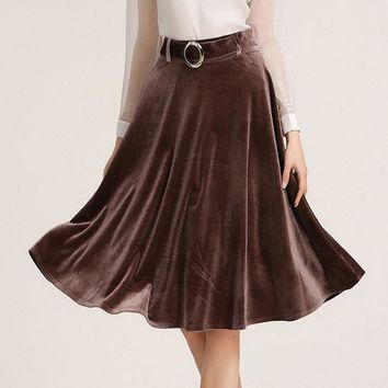 2017 Spring Vintage Women Skirt With Sashes Gold Velvet Umbrella Ladies Skirts Loose Solid High Waist Skirt Midi S-XL