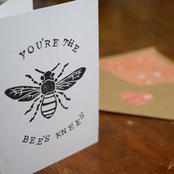 Hand Stamped Greeting Card, Foodie Card, Handmade, Custom Envelope, Funny Card, Bees Knees, I Love You Card, Boyfriend gift, Girlfriend gift