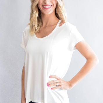 Open Shoulder White Top