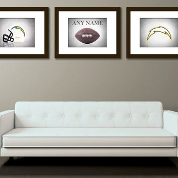 Personalized set of 3 San Diego Chargers photo print,boys room decor,San Diego Chargers,football decor,sports decor, Vintage sports