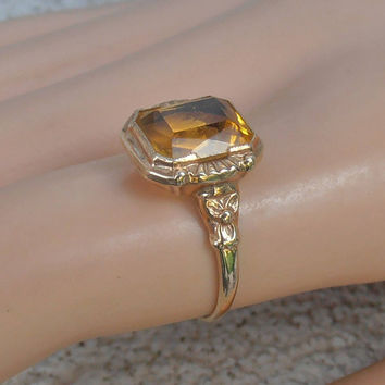 Victorian 10k Golden Topaz Ring, Rose Gold, Orange Blossom Flower, November Birthstone