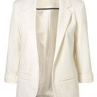 White Slim Single-breasted Lapel Blazer