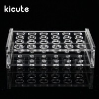 Kicute Overvalue 24 Holes 1.5ml Clear Plastic Centrifugal Test Tube Test Tubing Rack Holder 11mm Dia School Supply Lab Equipment