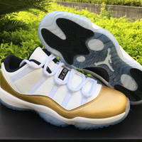 "Air Jordan 11 Low ""Metallic Gold"" AJ11 Men Women Sport Sneaker"