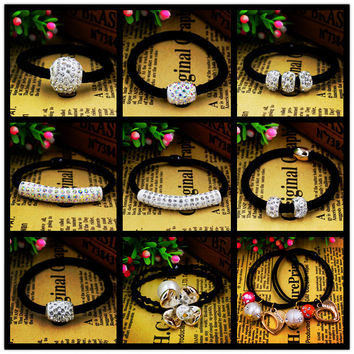 5pcs/lot Hot Style Crystal Rubber Bands Hair Accessories Beauty Pearls Heart  Double Layers Gold Plated Flower Black Tie Gum