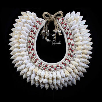 White Curled Shell Necklace Banded With Lines Of Cowrie+Red Beads Gorgeous White/Very Large Natural Dreamy Nautical Island Beach Home Design