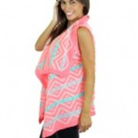 Neon Pink Sleeveless Cardigan