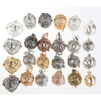 Rhinestone Harmony Bird Cage Ball Caller Pendant For Pregnant Women Aromatherapy Essential Oil Locket Jewelry