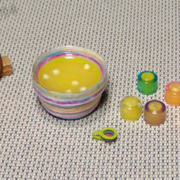 Dollhouse Miniature Punch Bowl Set - Yellow with Marshmallows Punch - Colorful Garden Party Decor - Artist Made Original Mixed Media