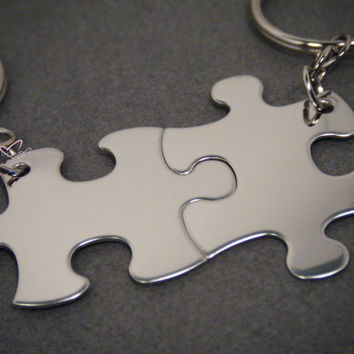 Non-Customizable Keychains, Puzzle piece keychains, Couples Keychains, Couples Gift, Free US Shipping