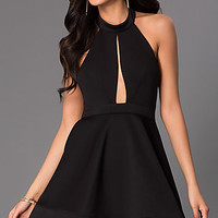 Short A-Line Halter Dress with Front Cut Out