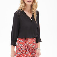 LOVE 21 Lace Paneled Blouse Black