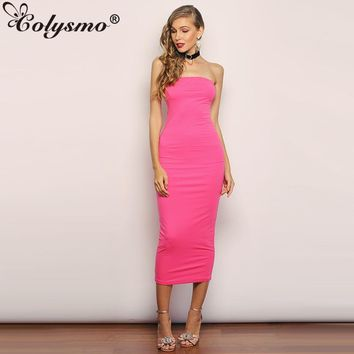 Colysmo Double Layers Cotton Pink Long Dress Summer Off Shoulder Casual Party Dresses Elegant Women Sexy Tight Dress Gray Black