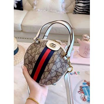 GUCCI 2019 new spherical old flower crossbody bag