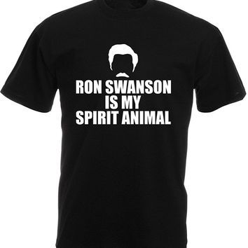 Brand88 - Ron Swanson Is My Spirit Animal, Mens Printed T-Shirt Men T Shirt 100% Cotton Print Shirts Fashion 2017 Top Tee Mens