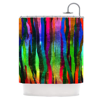 "Frederic Levy-Hadida ""Jungle Stripes II"" Black Rainbow Shower Curtain"