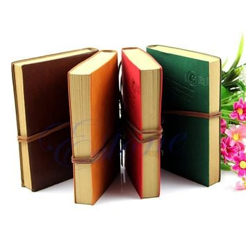 Classic Retro Vintage Leather Bound Blank Pages Journal Diary Notepad Notebook