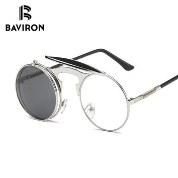 BAVIRON 2018 Vintage Steampunk Sunglasses Men Women Brand Design Retro Sunglasses Men Round Unisex Flip Up Glasses for Driving