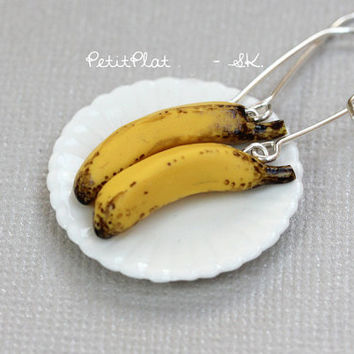 Banana Earrings, Miniature Fruit & Veggies Food Jewelry - Healthy Collection