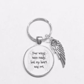 Guardian Angel Wing Your Wings Were Ready But My Heart Was Not Memory Keychain
