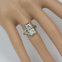 Antique 1920's Art Deco Diamond Ring in 18k White Gold