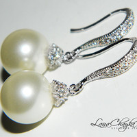 RESERVED Wedding Earrings Swarovski Cream Ivory Pearl Cubic Zirconia Rhodium Sterling Silver Bridal FREE US Shipping