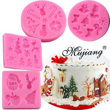 Mujiang 4 Pcs Christmas Series Baking Silicone Molds Sugarcraft Fondant Cake Decorating Tools Chocolate Candy Fimo Clay Moulds