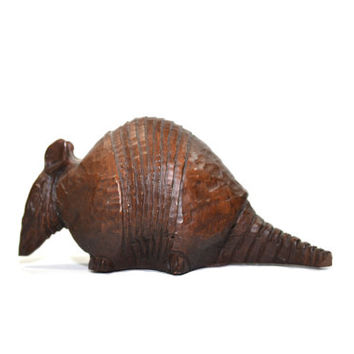 Vintage Wood Armadillo Carved Wood Armadill  Armadillo Statue Southwestern Decor Southwestern Nursery Decor