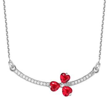 Triple Lucky Clover Hearts Bar Charm Amulet Silver-Tone Royal Red Sparkling Crystals Necklace