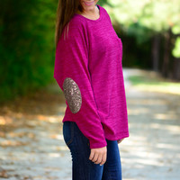 Glitter Patch Top, Magenta