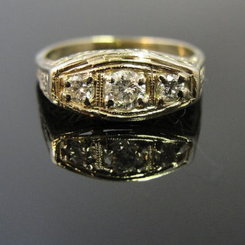 Art Deco Filigree Cocktail Dinner Ring with Three Diamonds