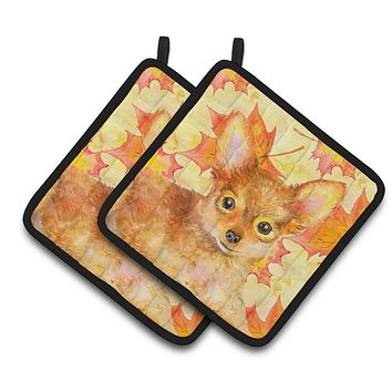 Toy Terrier Fall Pair of Pot Holders BB9983PTHD