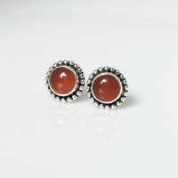Carnelian Stud Earrings, Red Earrings, gemstone earrings, Carnelian Jewelry, Boho Stud Earrings, Boho Chic, Tribal Stud earrings, handmade